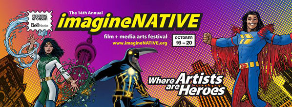 Banner for ImagineNATIVE film festival done in comic book style