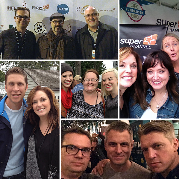 TIFF 2015 Clockwise from top left: Brendon Sawatzky with NSI Features First grad Sean Garrity (middle) and John Gill; Shelly Quade and Super Channel's Melissa Kajpust (middle) with Jane Clarke; Brendon with NSI Features First grad Jason Lapeyre (middle) and Spencer Maybee at the DGC party; Shelly with NSI Totally Television grad Jordan Walker; and Chris Vajcner (middle) with NSI Drama Prize grads Lora Campbell (left) and Lisa Rose Snow (right).