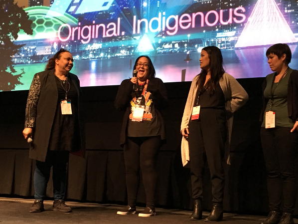 Pauline Clague, Jenna Neepin (NSI IndigiDocs) Asia Youngman and Courtney Montour (NSI IndigiDocs)