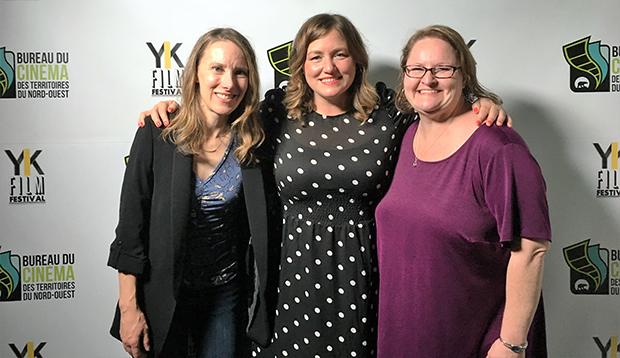 Telefilm's Lauren Davis,NWT film commissionerCamilla MacEachern and Chris Vajcner