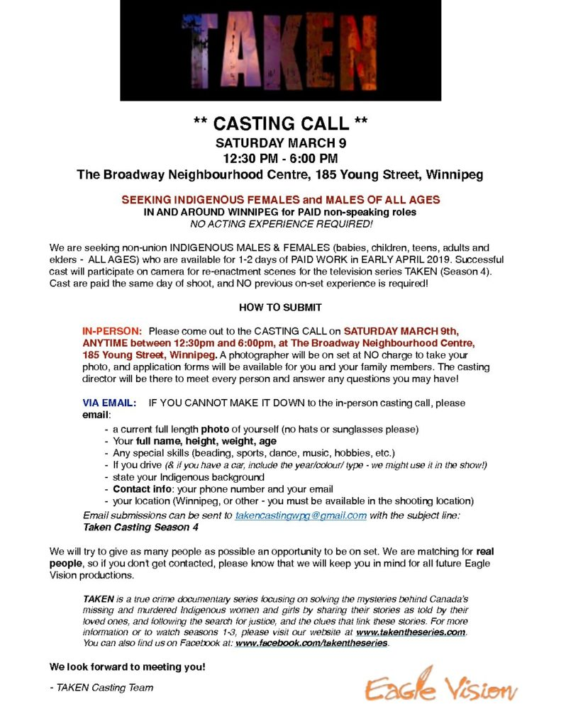 Casting call for true-crime documentary series Taken, March