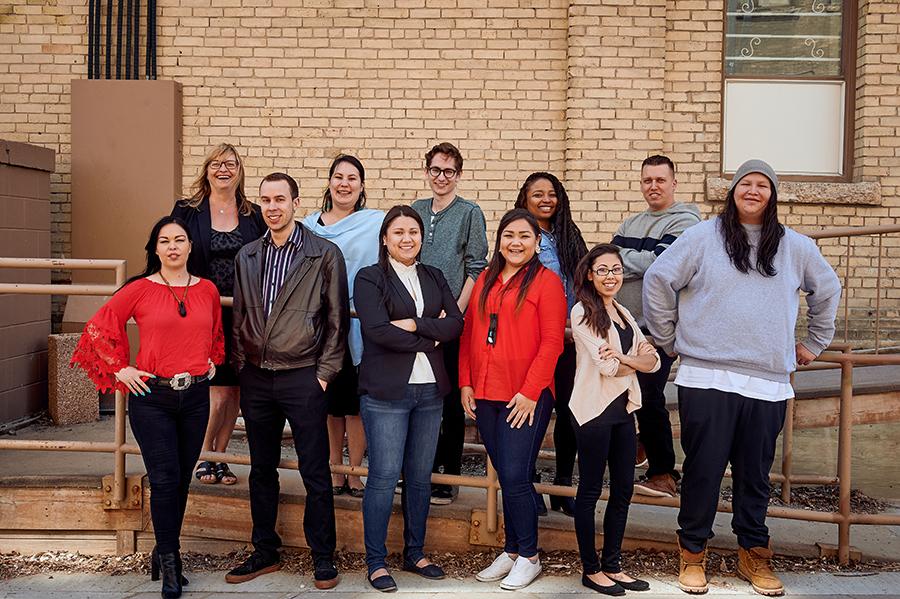 Above top row from left: Ursula Lawson (program manager), Kaya Wheeler (associate manager), Daniel Bear, Adeline Bird, DamianFrazee; bottom row: Rhonda Lucy, Jon Berg,Cynthia Murdock,Diandre Thomas-Hart,Shauntelle George, JoeCourchene